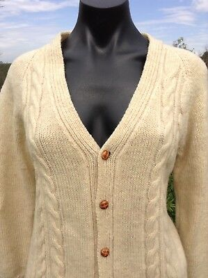 100% PURE WOOL Cardigan Super Warm Sze S Beige Ivory Vintage Retro 70s Hand-knit