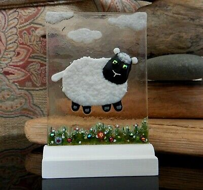 Handmade original Fused Glass Picture: 'LITTLE LAMB'.