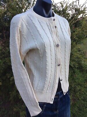Vintage 100% Pure Wool Cardigan BELLA Superwash 10 Ivory Cream Cable Knit Cardi