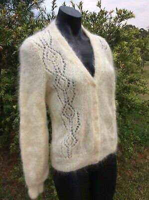 Vintage Mohair Lambswool Cardigan Handmade Knitted Ivory Size M Cardi Jacket NEW
