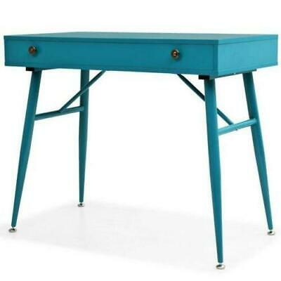 Retro Writing Desk Office Table Antique Green Steel Computer Vintage Furniture