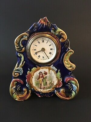 Vintage Ceramic Wind Up Mantel Clock Hand painted Made In Germany Working