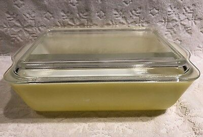 Vintage CDN PYREX '49-53; Solid-Colours YELLOW LG Lidded Oven-Refrigerator Dish