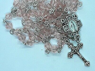 Handmade tourmaline pink crystals Miraculous Medal silver tone rosary-FREE SHIP