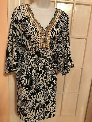805bc28bb92f22 $238 LILLY PULITZER Wilda Chic Pink Sway Floral Beaded Neck Caftan ...