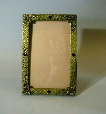 Fine Antique Brass Jeweled Arts & Crafts Easel Table Top Mission Picture Frame