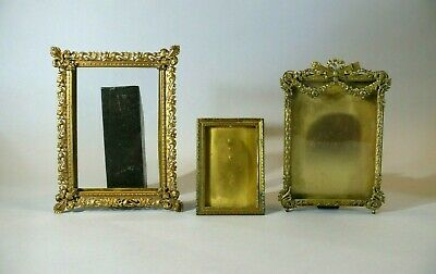 Three (3) Antique French Cast & Stamped Brass Picture Frames-One is Exceptional