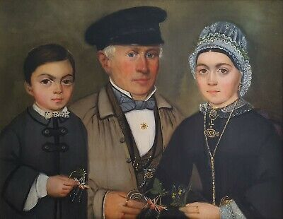 Antique Painting, Family Portrait, 19th Century Painting, French School Art