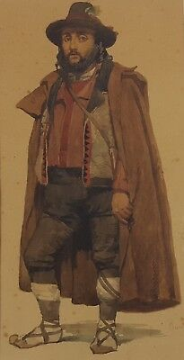 Antique Watercolor, Man Portrait, 19th Century Painting, French Art, Circa 1840