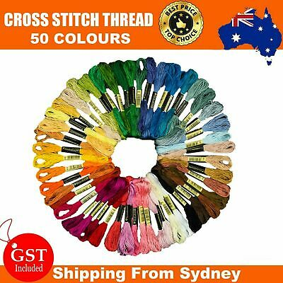 50 Color Egyptian Cross Stitch Cotton Sewing Skeins Embroidery Thread Floss VW