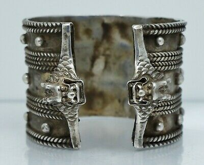 WIDE Chinese Export Sterling Dragon Cuff Bangle Bracelet Silver Antique Vintage