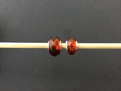 Natural Baltic amber charm trollbead bracelet beads faceted Silver 925 #7733