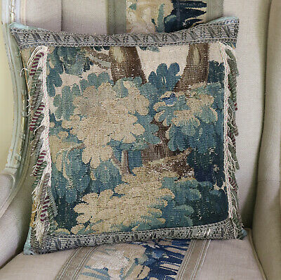 Antique Aubusson Tapestry Pillow C18th French Verdure Tapestry Metallic Tassels