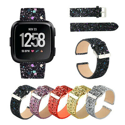 Bling Glitter Leather Wrist Strap Wristband Watch Band For Fitbit Versa Lite