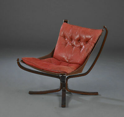 VINTAGE RETRO SIGURD RESSELL LEATHER LOW BACK FALCON CHAIR  1960,s
