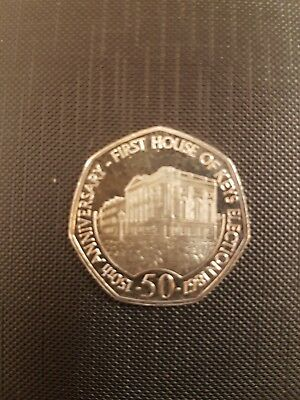 2017 ISLE OF MAN IOM 50p Fifty Pence First House of Keys Election AUNC Coin