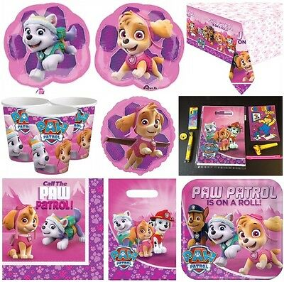 PAW PATROL GIRLS BIRTHDAY PARTY Table cover Loot Bags Plates Napkins Balloons