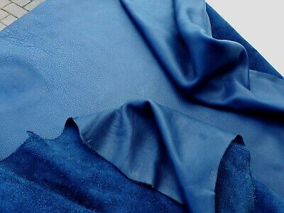 "Real Leather Cow Hide Full Side Navy Blue (1.8- 2Mm)  89"" Longest 41"" Bags Craft"