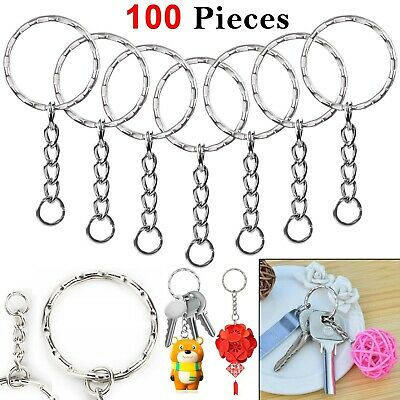 100pcs Silver Keyring Blanks Tone Key chains Key Split Rings 4 Link Chain