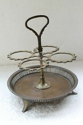 Antique Old Original Brass Hand Crafted Glass Stand Glass Sevring Stand NH6113