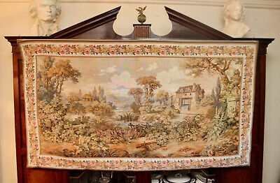 A Spectacular Large Aubusson Verdure Wall Tapestry 6'x7' Point Genre Gobelins