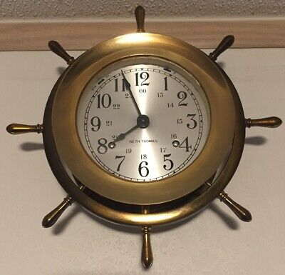 Vintage Seth Thomas Helmsman Ships Bell Clock Made in USA w/Key