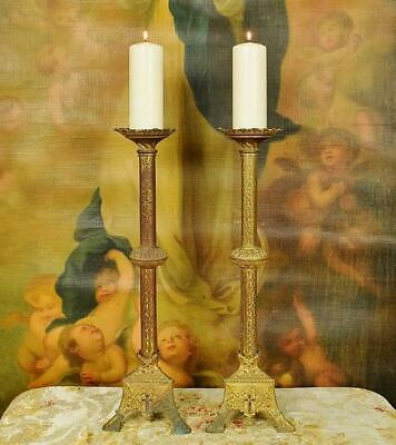 Impressive Tall Pair Antique French Gilded Spelter Church Pricket Candlesticks