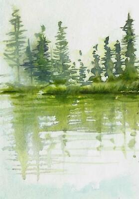 ACEO painting river bank misty original Fall landscape watercolour art card