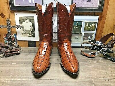 ee511393db8 LUCCHESE RARE EXOTIC American Hornback Alligator 10.5D Cowboy Boots Tan &  Rust