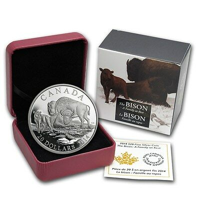 2014 CANADA 1 oz 9999 Silver $20 Bison : A Family at Rest