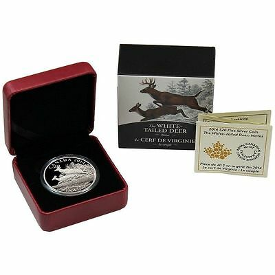 2014 CANADA 1 oz 9999 Silver $20 The White Tailed Deer - Mates
