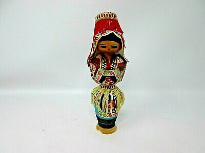 *Ukrainian Wooden Doll Traditional Fabric Costume Handcraft Antique Signed 1935