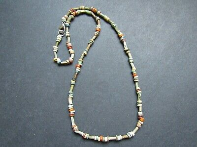 NILE  Ancient Egyptian Coral Amulet Mummy Bead Necklace ca 600 BC