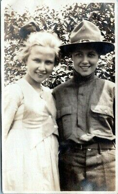 Young Boy Scout with Pretty Girlfriend in Uniform 1920s Vintage Photo
