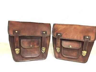 Saddlebags Motorcycle Brown Leather Side 2 Bags Pouch Panniers Handmade india