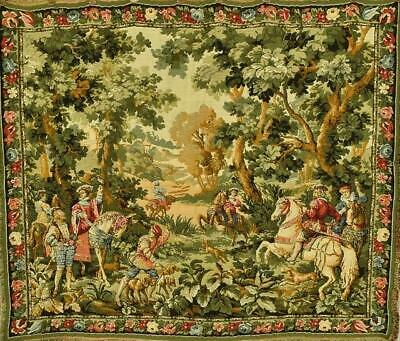 Rather Plumptious Vintage French Tapestry Wall Hanging, Stunning Hunting Scene