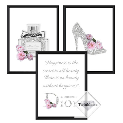 c7ea950ac Set of 3 Chanel Miss Dior Perfume Faux Glitter Effect Art Pictures - A4  Prints