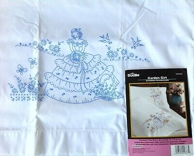 Pair Bucilla Garden Girl Stamped Pillow Cases For Emroidery