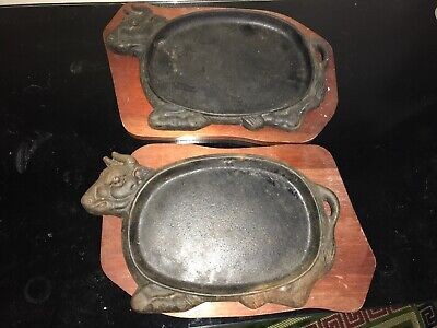 Antique Heavy Cast Iron Bull Cow Steak Plate X2 Vintage