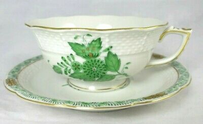 Herend Chinese Bouquet Green Tea Cup Saucer Set Gold White Green Floral Hungary