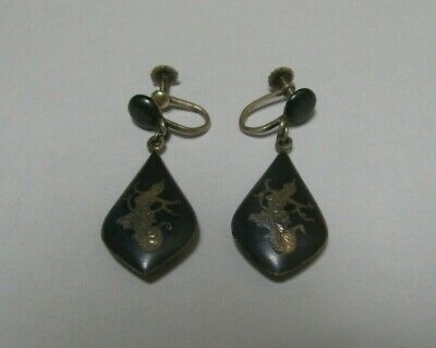 Vintage Siam Sterling Silver Black Dancer Dangle Screw Back Teardrop Earrings