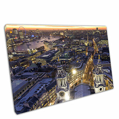 """Print on Canvas City of London skyline at night Wall Art Ready to Hang 30x20"""""""