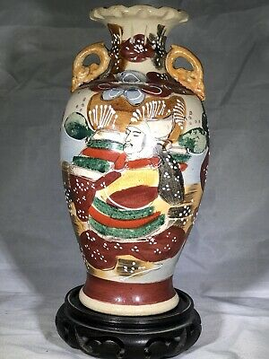 Rare Antique Japanese Hand Painted Satsuma Vase, Meiji Era, 19C