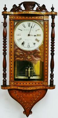 Beautiful Antique American Wall Clock 8Day Striking Walnut Inlaid Tunbridge Ware