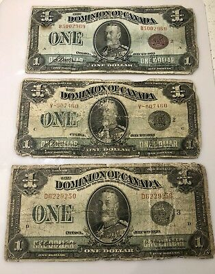 Lot of 3 1923 $1 Dollar Dominion of Canada Banknote  2 Black Seal,1 Red Seal