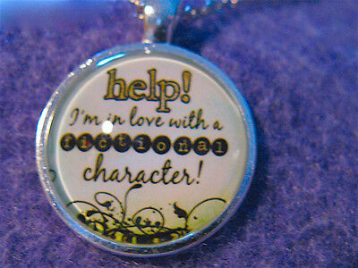 NEW DOME Jelly Belly PENDANT: 'HELP! IN LOVE w/FICTIONAL CHARACTER!' 20'' chain