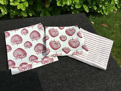M & S Marks Spencer STRAWBERRY & STRIPED Tea Towel Dish Cloth Set of 3 NEW OOS