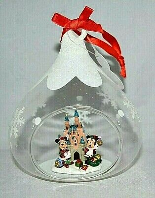 Disney parks - Santa Mickey and Minnie Mouse Glass Ornament - Disneyland - NEW