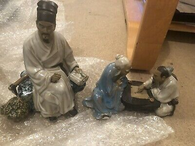 Vintage Large And Chess Playing Chinese Oriental Mudman Figure
