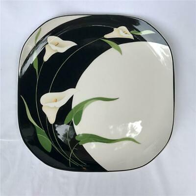 Sango Quadrille Black Lilies Semi-Porcelain Square Dinner Plate